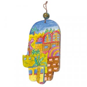Hand Painted Wood Wall Hamsa, Gold Jerusalem Images - Yair Emanuel