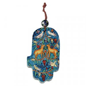 Small Hand Painted Blue Wood Wall Hamsa, Nature Scenes - Yair Emanuel