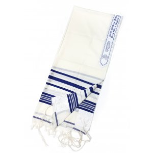 Wool Tallit Prayer Shawl by Talitnia - Blue & Silver Stripes