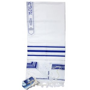 Talitania Acrylic Tallit - Blue and Silver Stripes