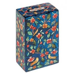 Hand Painted Rectangle Tzedakah Charity Box Blue Oriental - Yair Emanuel