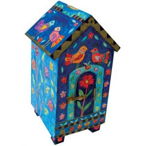 Blue House-Shaped Wood Tzedakah Charity Box - Birds & Flowers by Yair Emanuel