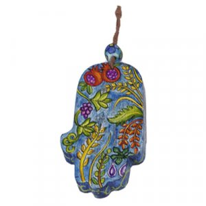 Small Wood Wall Hamsa, Hand Painted Seven Species Blue - Yair Emanuel