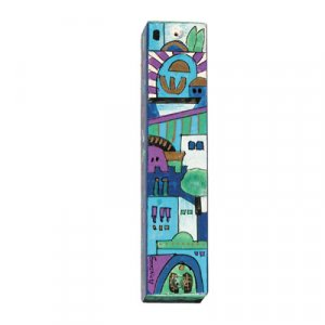 Small Hand Painted Wood Mezuzah Case, Jerusalem on Blue - Yair Emanuel
