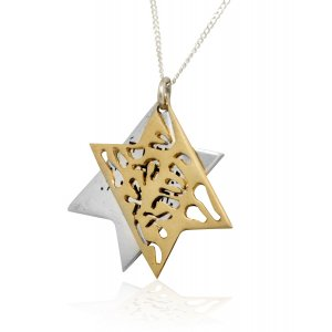 Shema Yisrael Star of David Two-Tone Pendant 9K Gold & Sterling Silver by HaAri Jewelry