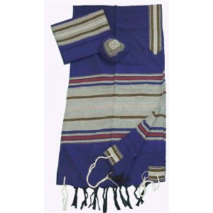 Handwoven Cotton Blue Tallit Prayer Shawl Set with Colored Stripes - Gabrieli