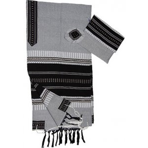 Handwoven Cotton Gray Prayer Shawl Set with Black and Silver Stripes - Gabrieli