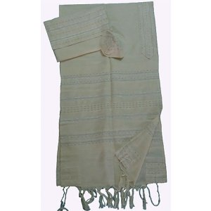 Handwoven Off-white Cotton Prayer Shawl Tallit Set Silver Stripes – Gabrieli