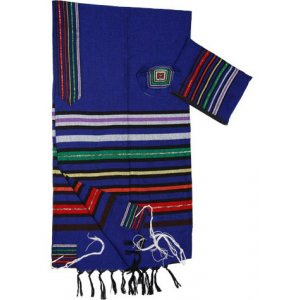 Colorful Joseph Stripes on Royal Blue Handwoven Wool Prayer Shawl Set - Gabrieli