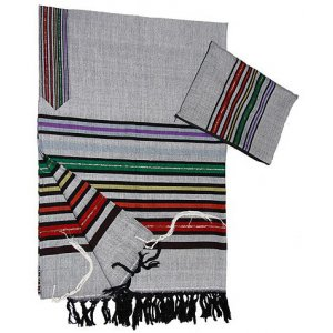 Gray Handwoven Silk Tallit Prayer Shawl Set Josephs Multicolor Design - Gabrieli