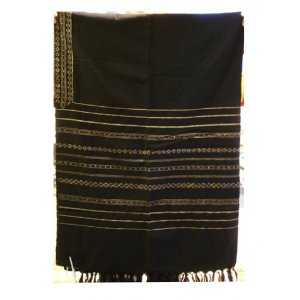 Handwoven Wool Prayer Shawl Set, Black with Gold Stripes - Gabrieli