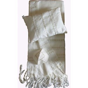 Handwoven White Wool Tallit Set with Gold Stripes - Gabrieli