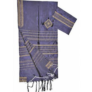 Handwoven Silk Violet Prayer Shawl Tallit Set with Gold Stripes - Gabrieli