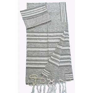 Handwoven Silk Tallit Set with Gray and Silver Stripes - Gabrieli