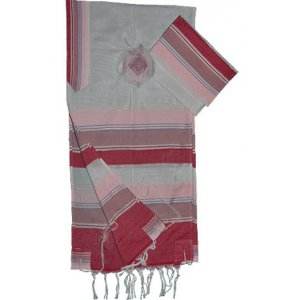 Shades of Pink Stripes Handwoven White Silk Prayer Shawl Tallit Set - Gabrieli