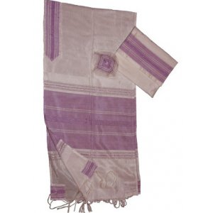 Handwoven White Silk Tallit Prayer Shawl Set with Fuchsia Stripes - Gabrieli