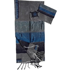 Handwoven Gray Silk Prayer Shawl Tallit Set Shades of Blue Stripes - Gabrieli