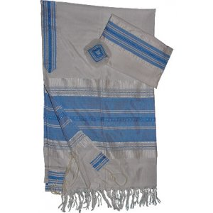 White Handwoven Silk Prayer Shawl Set with Light Blue Stripes - Gabrieli