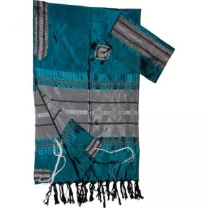 Handwoven Silk Prayer Shawl Tallit Set, Teal Blue and Silver Stripes - Gabrieli