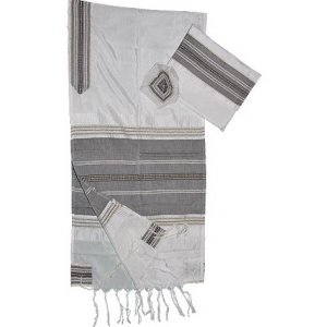 Handwoven White Silk Tallit Set with Black and Gold Stripes-Gabrieli