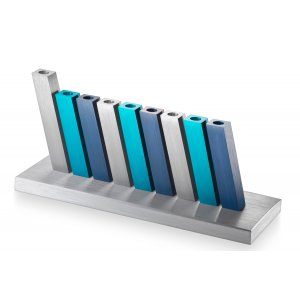 Kinetic Hanukkah Menorah Aluminum, Turquoise, Blue and Silver Rods - Adi Sidler