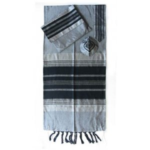 Handwoven Gray Silk Prayer Shawl Set with Black Stripes - Gabrieli