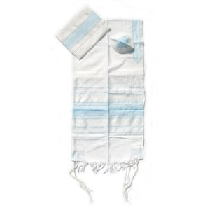 Handwoven White Silk Prayer Shawl Set with Light Blue Stripes - Gabrieli
