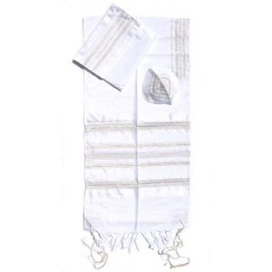 Handwoven Silk Prayer Shawl Set with Gold and Silver Stripes - Gabrieli