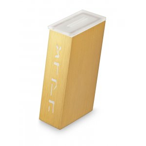 Contemporary Brushed Aluminum Tzedakah Charity Box, Gold - Adi Sidler