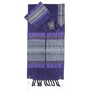 Purple Handwoven Silk Tallit Prayer Shawl Set with Silver Stripes - Gabrieli