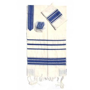 Handwoven White Wool Prayer Shawl Set with blue Stripes - Gabrieli