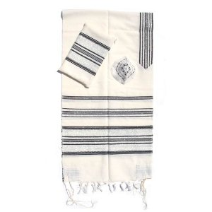 Handwoven White Wool Prayer Shawl Set with Black Stripes - Gabrieli