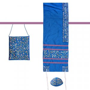 Royal Blue Polysilk TalliSack Tallit Set with Embroidered Flowers - Yair Emanuel