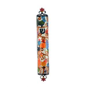 Hand Painted Colorful Laser Cut Metal Mezuzah Case, Birds - Yair Emanuel