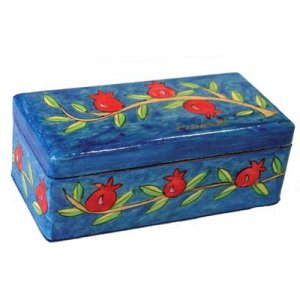 Hand Painted Travel Shabbat Candlesticks in Wood Box, Pomegranates - Yair Emanuel