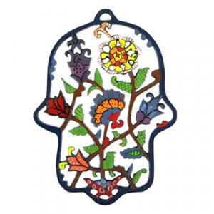 Colored Hand-Painted Laser Cut Wall Hamsa, Flowers - Yair Emanuel