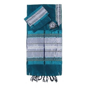 Handwoven Green Silk Tallit Prayer Shawl Set with Silver Stripes - Gabrieli