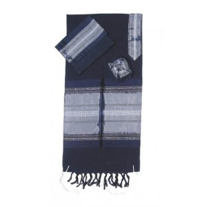 Dark Blue with Silver Stripes Handwoven Silk Prayer Shawl Set - Gabrieli