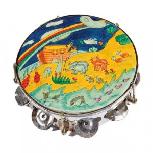 Hand Painted Leather Tambourine, Noahs Ark - Yair Emanuel