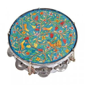 Hand Painted Leather Tambourine, Oriental Forest Design - Yair Emanuel