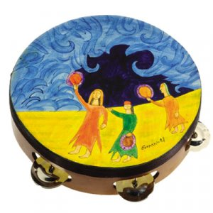 Hand Painted Leather Tambourine, Miriam at Red Sea - Yair Emanuel