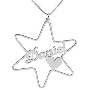 Silver Star Cursive English Name Necklace with Heart