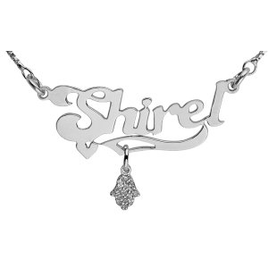 Hamsa Pendant Silver English Name Necklace