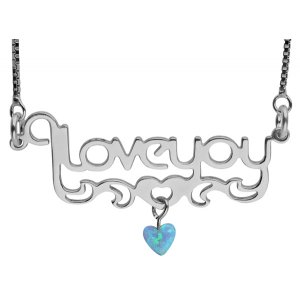 Love You Silver Necklace with Opal Heart