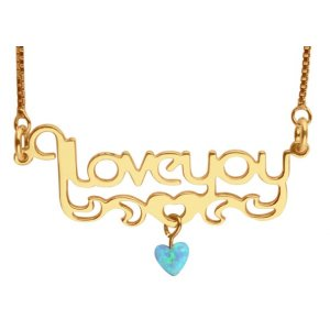 Love You Gold Filled Opal Heart Necklace