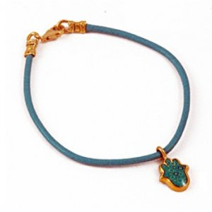 Turquoise Hamsa Leather Bracelet By Adina Plastelina SALE PRICE - 1 LEFT IN STOCK !!