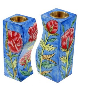 Hand-Painted Wood Fitted Candlesticks - Roses by Yair Emanuel