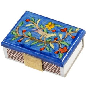 Painted Wood Matchbox Holder, Bird & Flowers - Yair Emanuel