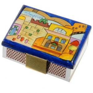 Painted Wood Matchbox Holder, Kotel and Jerusalem Scenes - Yair Emanuel