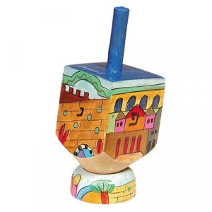 Hand Painted Wood Dreidel on Stand with Jerusalem Images, Small - Yair Emanuel